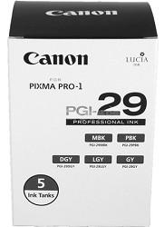 PGI-29 LUCIA Series Five Monochrome Ink Tanks Pack for PIXMA PRO-1 Printer