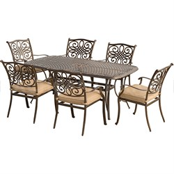 Traditions 7pc Dining Set (6 dining chairs 38x72  Alum table)