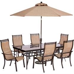 Monaco 7PC Dining Set:6 Sling Chrs 42 x84  Glass Tbl Umb Stand