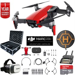 Mavic Air Flame Red Drone Deluxe Fly Bundle Case VR Set & Warranty Extension