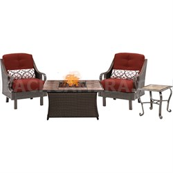 Ventura Fire Pit Chat Set with Tan Porcelain Tile Top - VEN3PCFP-RED-TN