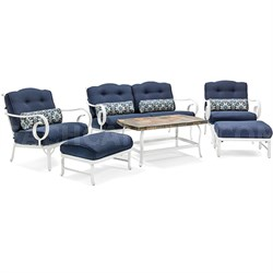 Oceana 6-Piece Patio Seating Set in Navy - OCECST6PC-NVY
