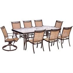 9pc Dining Set:6 Slng Dining Chrs 2 Slng Swivel Chrs 42x84  Glass Tbl