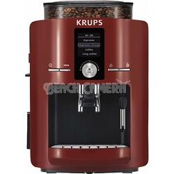 Espresseria Full Automatic Espresso Machine w/Built-in Conical Burr Grinder, Red