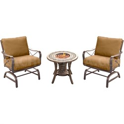Summer Nights 3PC Seating Set: 2 Steel Rockers with Cast Fire Urn