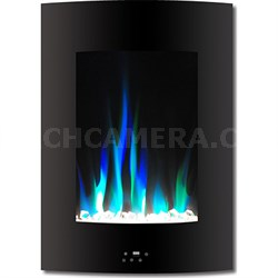 """19.5"""" Vertical Color Changing Wall Mount Fireplace w/ Crystals - CAM19VWMEF-1BLK"""