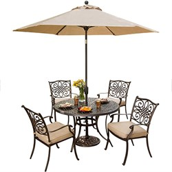 Traditions 5 Piece Dining Set With Umbrella - TRADITIONS5PC-SU
