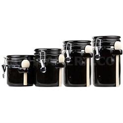 CS44153 4PC Ceramic Canister Set W/Spoon (Black)