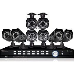 16 Channel 500GB DVR Kit with 8 High Resolution 600TVL Day/Night Vision Cameras