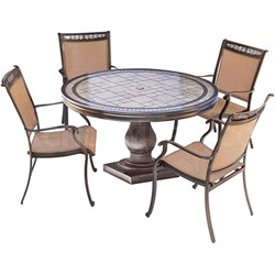 5pc Dining Set: 4 Sling Dining Chairs 51  Round Tile Top Dining Table