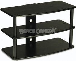 SF-3V Audio/Video Television Stand (Black) w/ Black Steel Posts