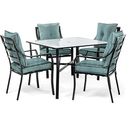 5pc Dining Set: 4 Stationary Chairs 1 Square Dining Table