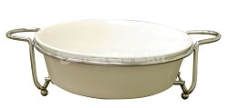 "Super White Ceramic Serveware With Caddy Round 11"""