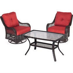 Orleans 3PC Swivel Set: 2 Swivel Chairs 1 Coffee Table