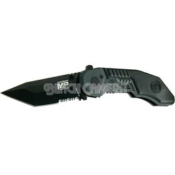 "SWMP3BS 2.9"" Knife with MAGIC Assisted Open, Black Tanto Point, Serrated"