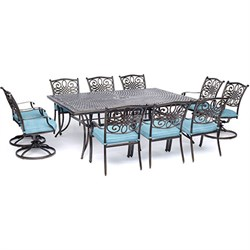 11pc Dining Set: 6 Dining Chairs 4 Swivel Rockers 60x84  Cast Table