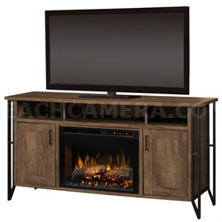 Tyson Electric Fireplace & Media Console - Logs, Farmhouse Chestnut