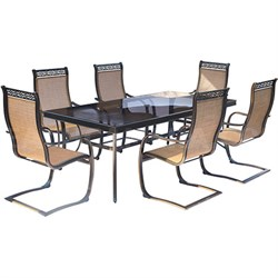 Monaco 7PC Dining Set:6 Spring Sling Chrs and 42 x84  Glass Tbl