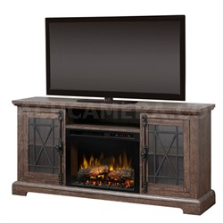Natalie Electric Fireplace & Media Console - Logs, Elm Brown
