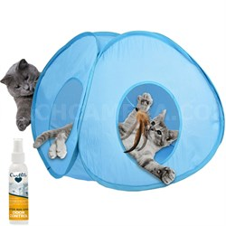 Pounce House Interactive Feather Tent Spinning Toy w/ 4 Oz. Odor Control