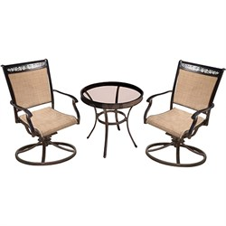 3pc Bistro Set: 2 Sling Swivel Chairs 30  Glass Top Table