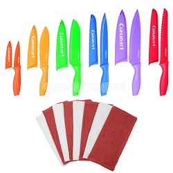 Advantage 12-Piece Knife Set and 8 Pack Terry Dish Cloth (Red/White) Bundle