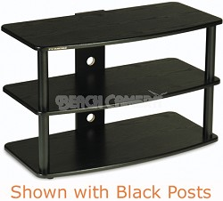 SF-3V Audio/Video Television Stand (Black) w/ Silver Steel Posts