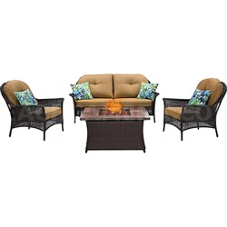 San Marino 4-Piece Fire Pit Lounge Set in Country Cork - SMAR4PCFP-TAN-WG