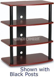 SF-4A Audio/Video Component Rack (Red Mahogany) w/ Silver Steel Posts