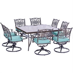 Traditions 9PC Dining Set: 8 Swivel Chairs(Blue)and 60  Square Glass Tbl
