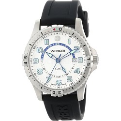 Men's Squadron GMT Watch - White Dial/Black Silicone Strap