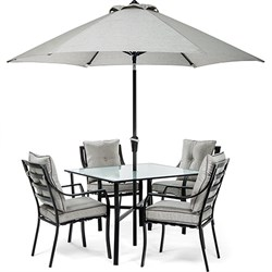 5pc Dining Set: 4 Chairs 1 Square Table 1 Umbrella 1 Umb Base