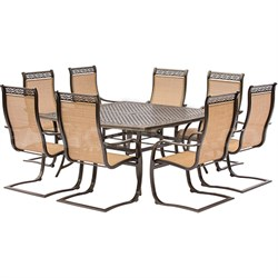 Manor 9PC Dining Set: 8 Spring Sling Chairs and 60  Square Cast Table