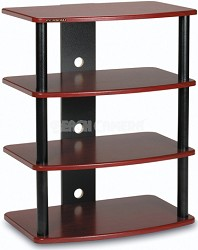 SF-4A Audio/Video Component Rack (Red Mahogany) w/ Black Steel Posts