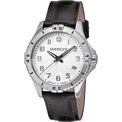 Ladies' Squadron Analog Watch - White Dial/Black Leather Strap