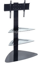 "SmartMount Universal TV Stand (Black) for 32"" to 50"" TVs w/ Two glass shelves"