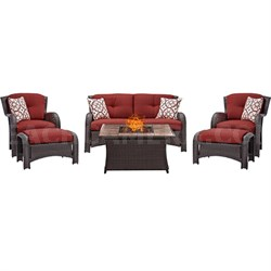Strathmere 6-Piece Lounge Set in Crimson Red - STRATH6PCFP-RED-TN