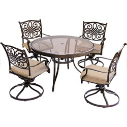 Traditions 5PC Dining Set: 4 Swivel Chairs and 48  Glass Table