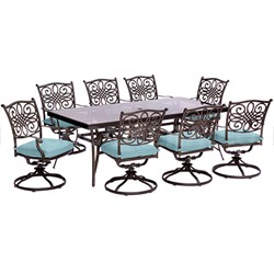 Traditions 9PC Dining Set:8 Swivel Chairs (Blue) and 42 x84  Glass Table