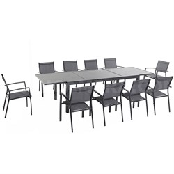 Naples 11pc Dining Set: 10 Sling Back Chairs 1 Aluminum Table