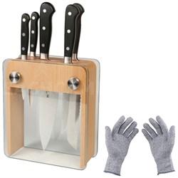 6-Pc. Renaissance Knife Block Set w/ Protective Safety Gloves