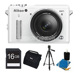 1 AW1 14.2MP Waterproof Shockproof Digital Camera w/ AW 11-27.5mm White Kit