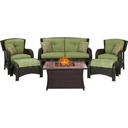 Montana 6-Piece Lounge Set in Cilantro Green w/Fire Pit Table - MON6PCFP-GREN-WG