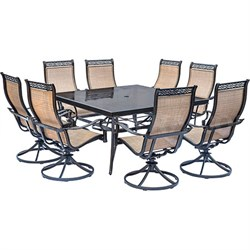 "Monaco 9-Piece Dining Set w/ Swivel Rockers and 60"" Dining Table- MONDN9PCSWSQG"