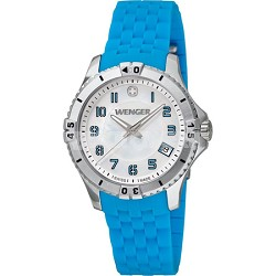 Ladies' Squadron Analog Watch - White Dial/Blue Silicone Rubber Strap