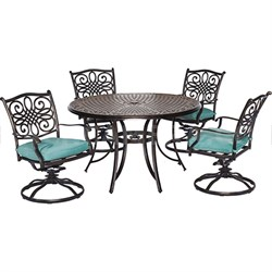 Traditions 5pc Dining Set:48  Round table4 rockers blue cushions