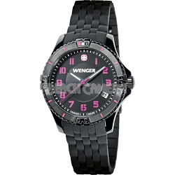Ladies' Squadron Analog Watch - Black Dial/Black Silicone Rubber Strap