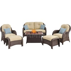 Newport 6-Piece Woven Seating Set with Wood Grain Tile Top - NEWPT6PCFP-CRM-WG