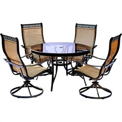 Monaco 5PC Dining Set:4 Swivel Sling Chairs and 48  Glass Tbl