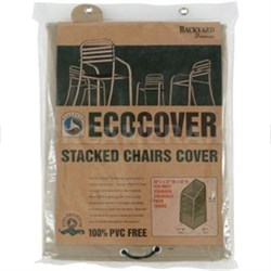 "07309BB Eco-Cover PVC Free Premium Stacked Chairs Cover, 30""x27""x42"""